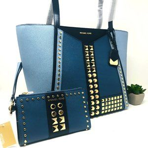 NWT MICHAEL KORS Whitney Studded Tote w/ Wallet